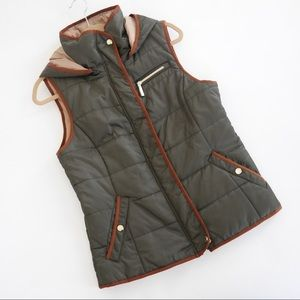 Green and Tan Puffy Vest