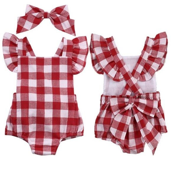 d0bc82e3210 Boutique Baby Girl Red Checkered Romper   Bow