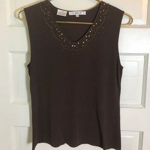 SALE❤️ Loulou sleeveless beaded sweater L brown