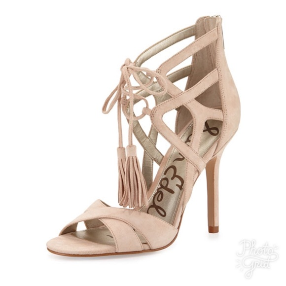 cd05fa3b339962 Sam Edelman Azela Nude Leather Tassel Heels C19 NWT