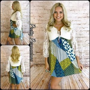 Pretty Persuasions Dresses & Skirts - NWT Lace Bell Sleeve & Printed Peasant Dress