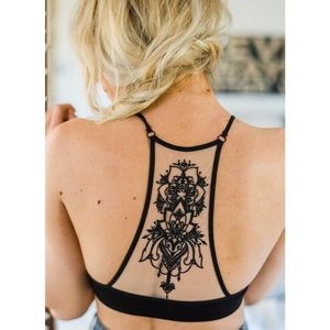 Other - ▪️SMALL▪️Black Tattoo Back Racerback Bralette