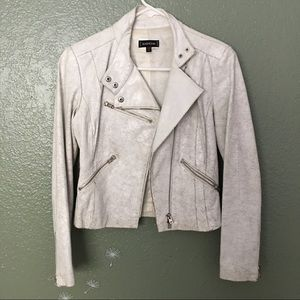 bebe Jackets & Blazers - Bebe white crackle distressed leather moto jacket