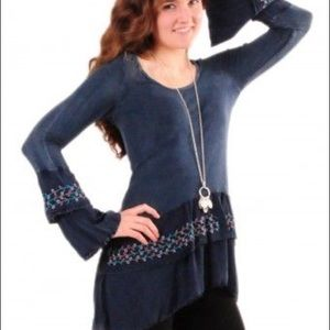T-Party Gray Ruffle bell sleeve flower embroided