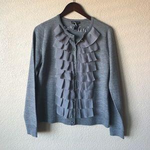 New York & Company Sweaters - New York & Company Gray Ruffled Cardigan
