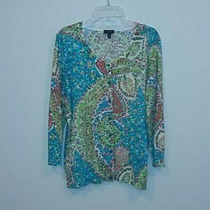 Talbots medium thin paisley cardigan sweater