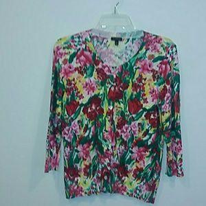 Talbots medium bright floral thin cardigan sweater