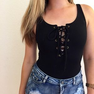 Tops - Black Lace Up Ribbed Bodysuit