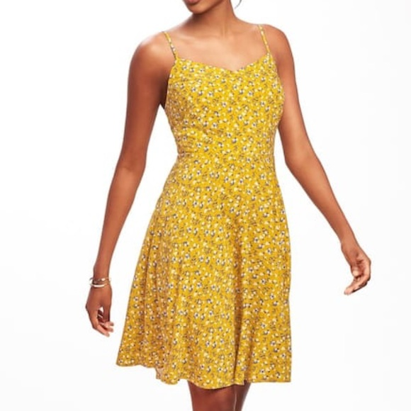 Old Navy Dresses Tall Yellow Floral Fit Flare Cami Dress