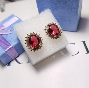 Jewelry - Rose Red Crystal Stud Earrings