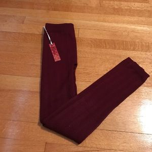 Riviera Pants - Burgundy fleece lined leggings