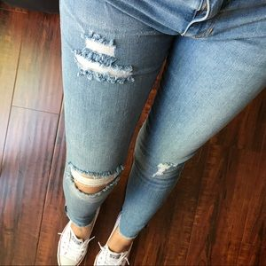 Jaxson Distressed Frayed Ankle Skinny Jeans