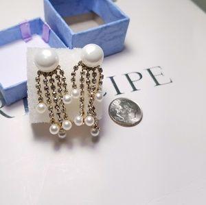 Jewelry - Crystal Pearl Dangling Earrings
