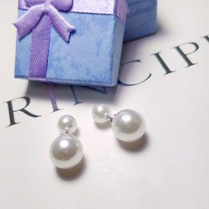 Jewelry - Double White Pearl Stud Earrings