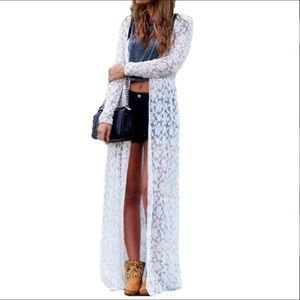 Other - White lace Kimono Cover up, Cardigan