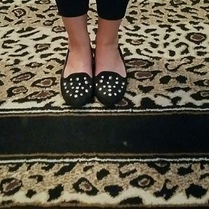 Wanted Shoes - 8.5 black studded flats. Faux suede $ faux leather