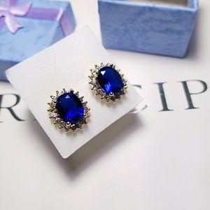 Jewelry - Deep Ocean Blue Oval Crystal Stud Earrings