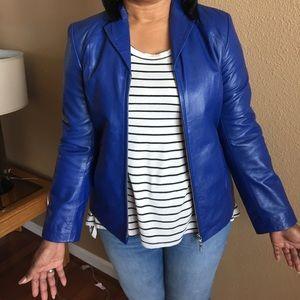 Alfani Jackets & Blazers - Ladies cobalt blue leather jacket