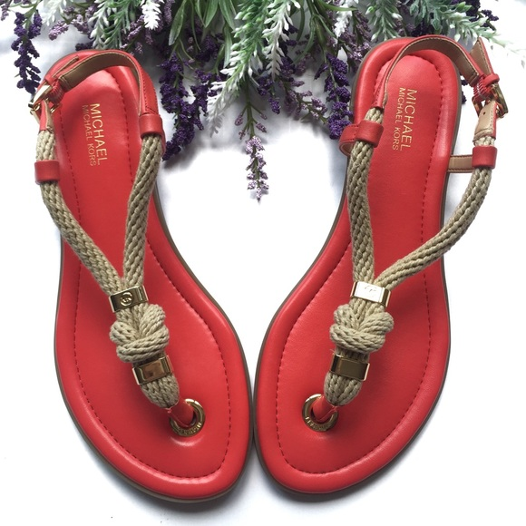 b405d152de6a Michael KORS Holly Rope Trim Leather Jelly Sandal.  M 591f6538a88e7d6c24014e7f