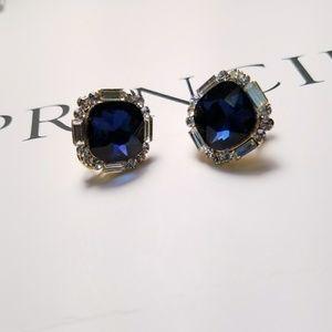 Jewelry - Square Ocean Blue Crystal Stud Earrings