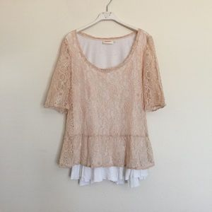 Anthropologie Tops - Deletta blush pink white layered lace blouse M