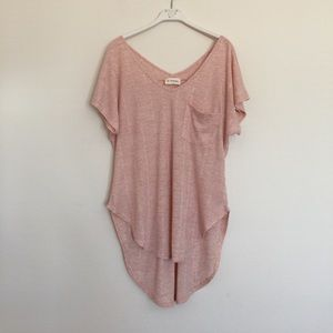 Anthropologie Tops - Pink blush knit high low v-neck tunic blouse small
