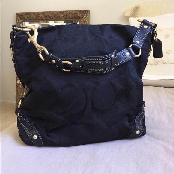 05c2132d4151 Coach Handbags - Coach Carly signature black sateen bag