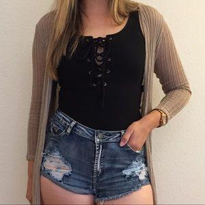 Distressed Cut Off Denim Shorts