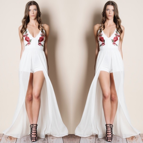 2e76fa31881 White Embroidered Mesh Maxi Romper