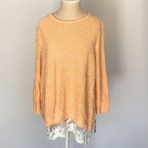 Style & Co Sweaters - Lace trimmed nectarine sweater