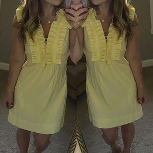 BCBGMaxAzria Dresses & Skirts - Bcbg yellow ruffle front deep v sun dress xs tie
