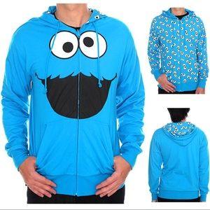 Sesame Street Tops - EUC Cookie Monster Full Zip Reversible Hoodie L