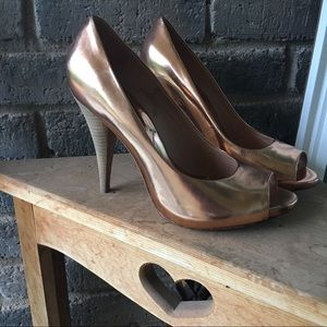 BCBGMaxAzria Shoes - BCBG Rose Gold Peep Toe Heels