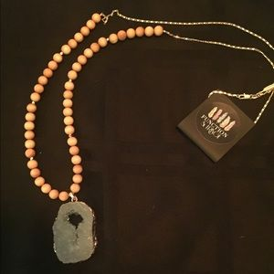 Function & Fringe Jewelry - Beautiful Gray Druzy and Sandalwood Necklace
