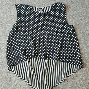 Audrey 3+1 Tops - Audrey 3+1 sheer polkadots and stripes hi-low top