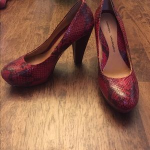 Chinese Laundry red leather faux snake heels