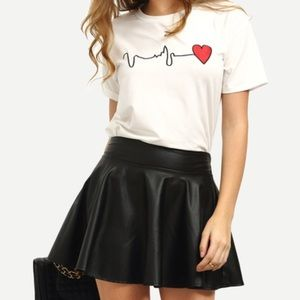 Embroidered heart short sleeve tee. Price firm.