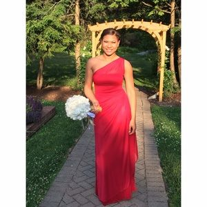 Womens Red Formal Bridesmaid Dress Gown