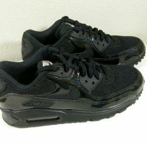 NIke Shoes - Nike Air Max 90 Premium Black Silver Run Shoes