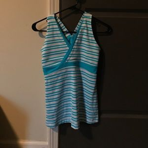 Size S Lululemon tank top in blue and white