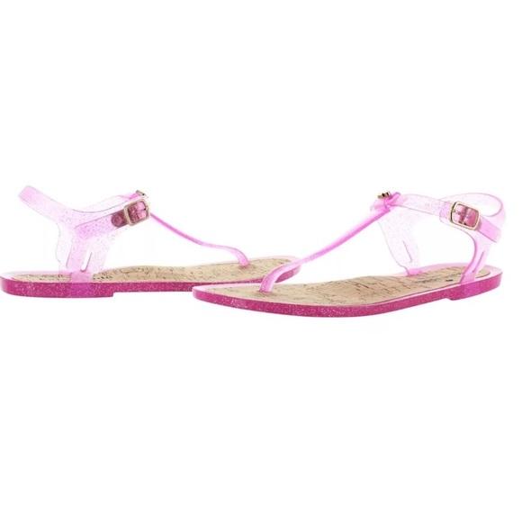 kate spade kate spade pink yari jelly glitter sandals