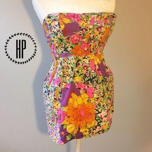 H&M Bright Multicolor Floral Strapless Top Sz 4