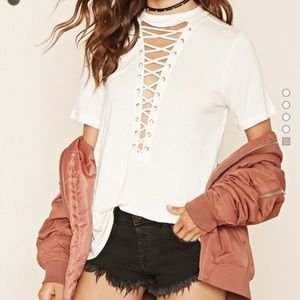 White Lace Up Tee Shirt
