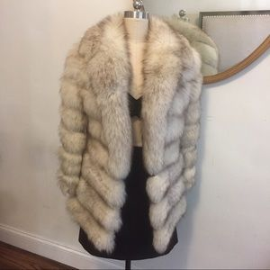 Jackets & Blazers - Genuine Silver Fox Vintage Fur Coat