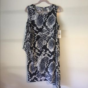 MSK Dresses & Skirts - NWT MSK Size 14W dress. Off white and navy.