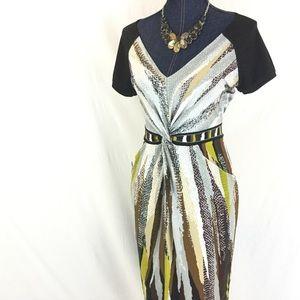 BCBG MAXAZRIA Medium V-Neck Animal Print Dress