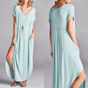 CHARLIZE solid boho dress - L. MINT