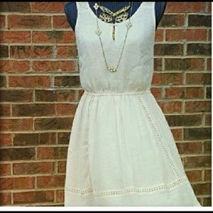 NEW LAUREN CONRAD Medium Cream Pink Mini Dress NWT
