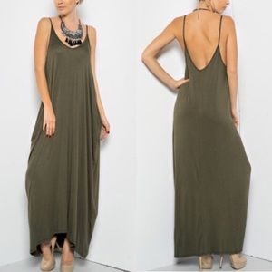 TERRI Harem dress w/ pockets - OLIVE
