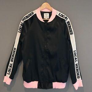 Local Hero baseball jacket, pink / black